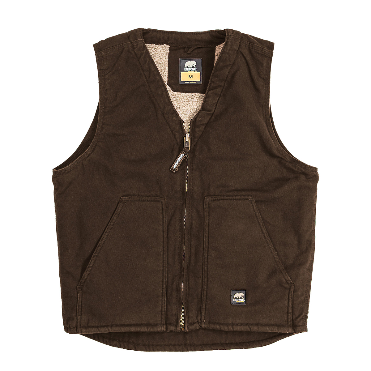 Berne-Washed-V-Neck-Vest-Big-Tall-BigCamo-Workwear-Casual-Bark