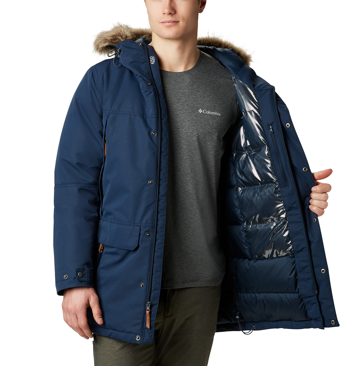 Columbia-Sportswear-South-Canyon-Down-Jacket-Big-Tall-BigCamo-Navy-Detail