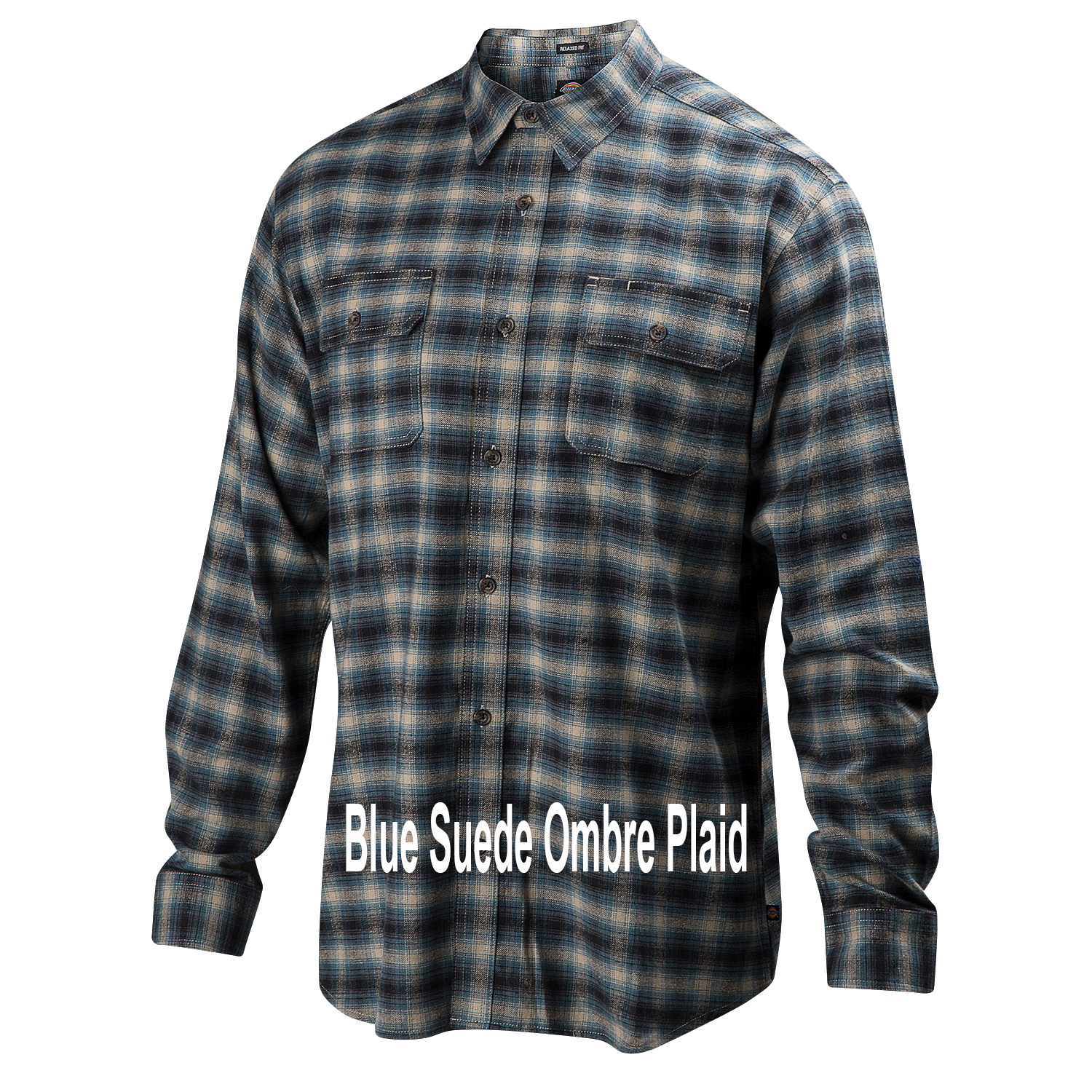 Dickies-Icon-Flannel-Blue-Suede-Ombre-Plaid-Big-Tall-BigCamo-Name