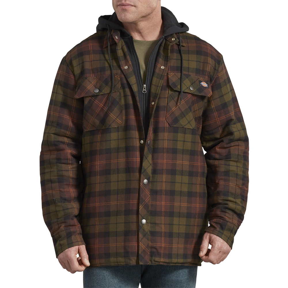 Dickies-Relaxed-Icon-Hooded-Quilted-Shirt-Jacket-Big-Tall-BigCamo-Chocolate-Tactical-Green-Plaid