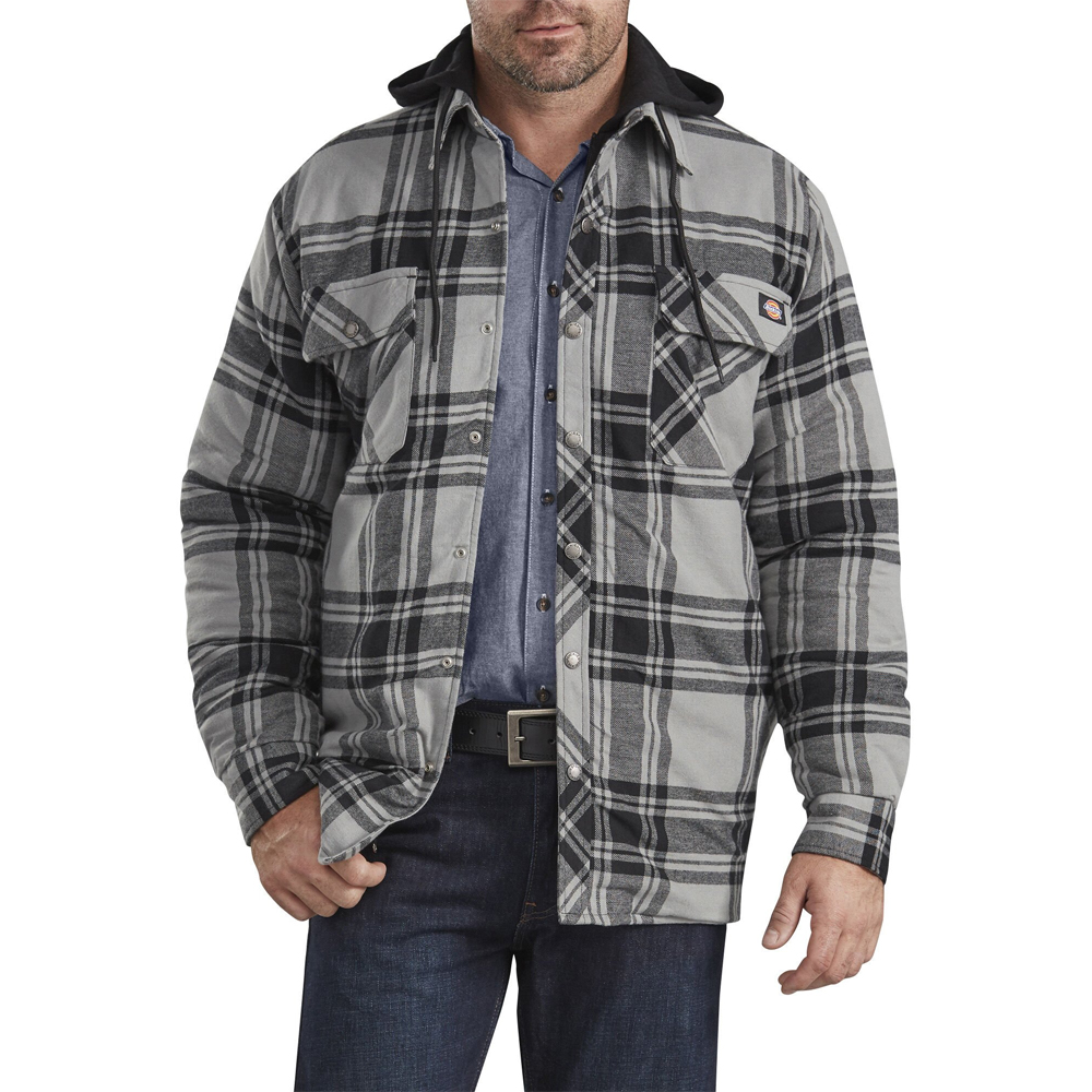 Dickies-Relaxed-Icon-Hooded-Quilted-Shirt-Jacket-Big-Tall-BigCamo-Gray-Black-Plaid