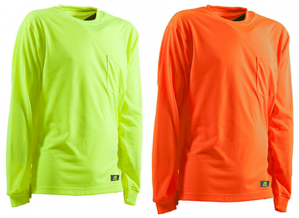 Berne apparel enhanced visibility long sleeve pocket tee for Big and tall fishing shirts