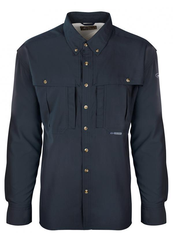 Drake-Flyweight-Wingshooters-Shirt-Navy-LS