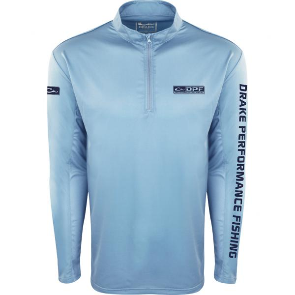 Drake-Performance-Fishing-Shield4-Arch-Mesh-Back-Quarter-Zip-Big-Tall-Fish-Hunt-Light-Blue