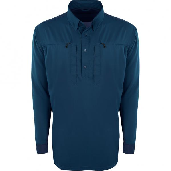 Drake-Performance-Fishing-Shield4-Cast-Away-Performance-Shirt-Blue