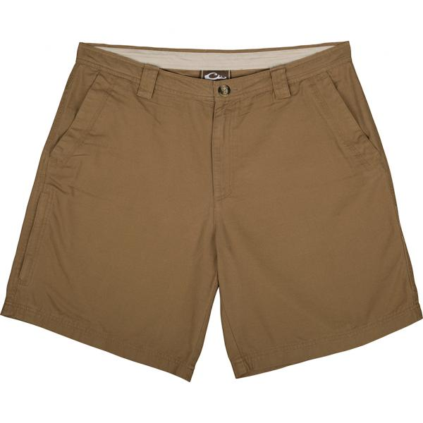 Drake-Waterfowl-Casual-Washed-Cotton-Canvas-Shorts-Big-Tall-BigCamo-Hunt-Fish-Golf-Tobacco